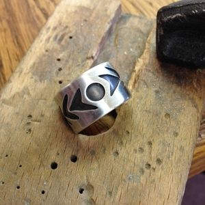 Sterling Silver Ring Band Abstract/Boho Design